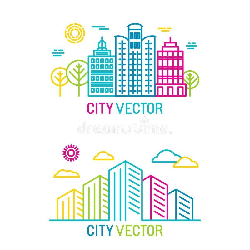 Vector a cidade e os logotipos da arquitetura no estilo linear brilhante na moda ilustração do vetor