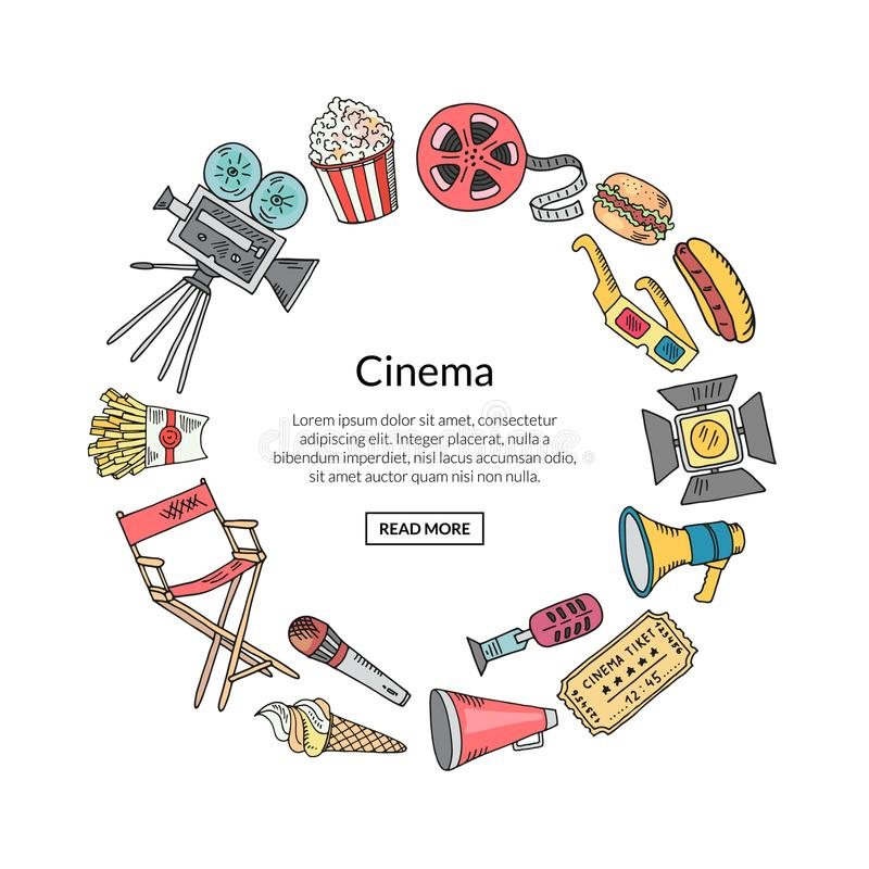 Vector cinema doodle icons in circle form illustration stock illustration