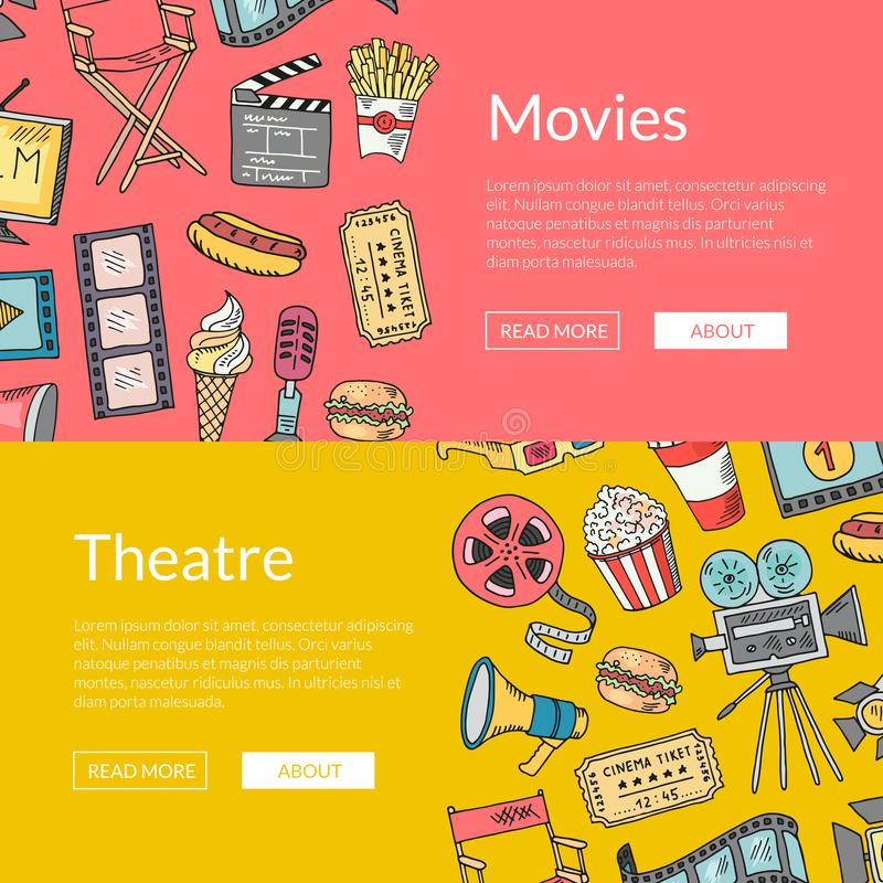 Vector cinema doodle icons banners illustration. Cinema elements sketch vector illustration