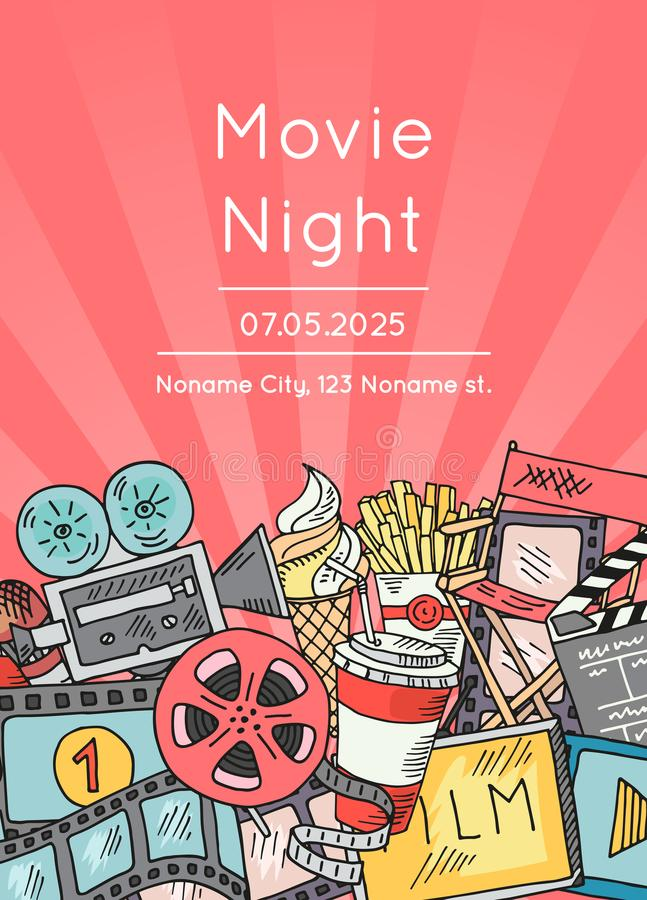 Vector cinema doodle icons poster for movie night or festival vector illustration