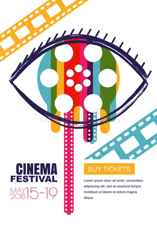 Vector cinema festival poster, banner. Human eye with film reel in pupil. Sale theatre tickets, movie time concept. vector illustration