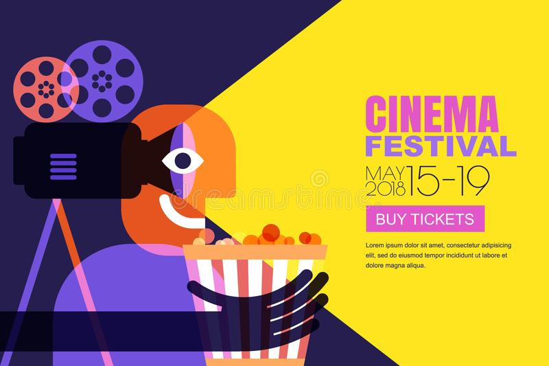 Vector cinema festival poster, flyer background. Sale tickets banner background. Movie time and entertainment concept. vector illustration