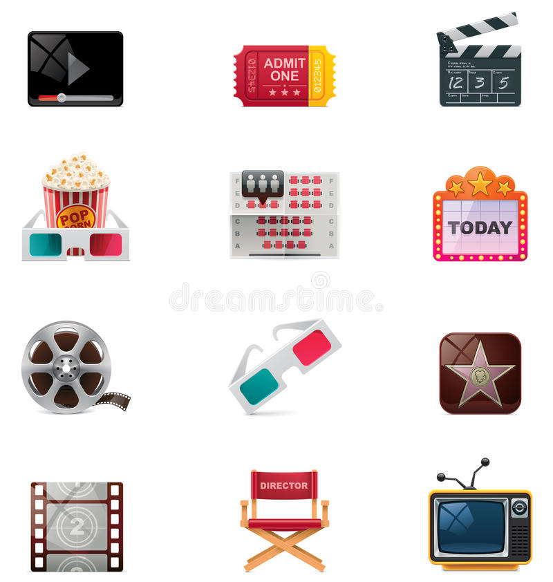 Vector cinema icon set. Set of detailed movie related icons