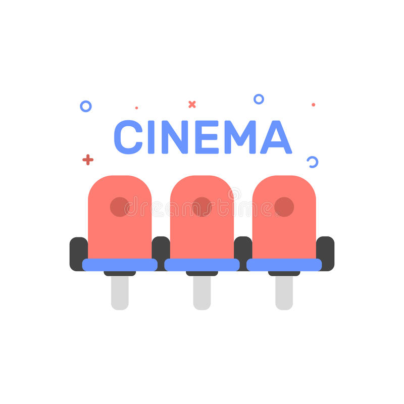 Vector cinema illustration of cinema chair or seats icon in flat linear style. royalty free illustration