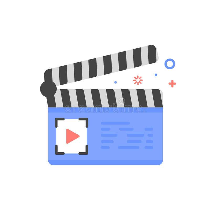 Vector cinema illustration of clapper board icon in flat linear style. vector illustration