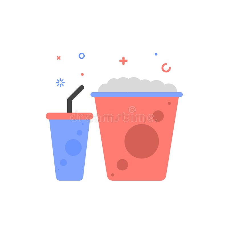 Vector cinema illustration of popcorn and soda icon in flat linear style. vector illustration