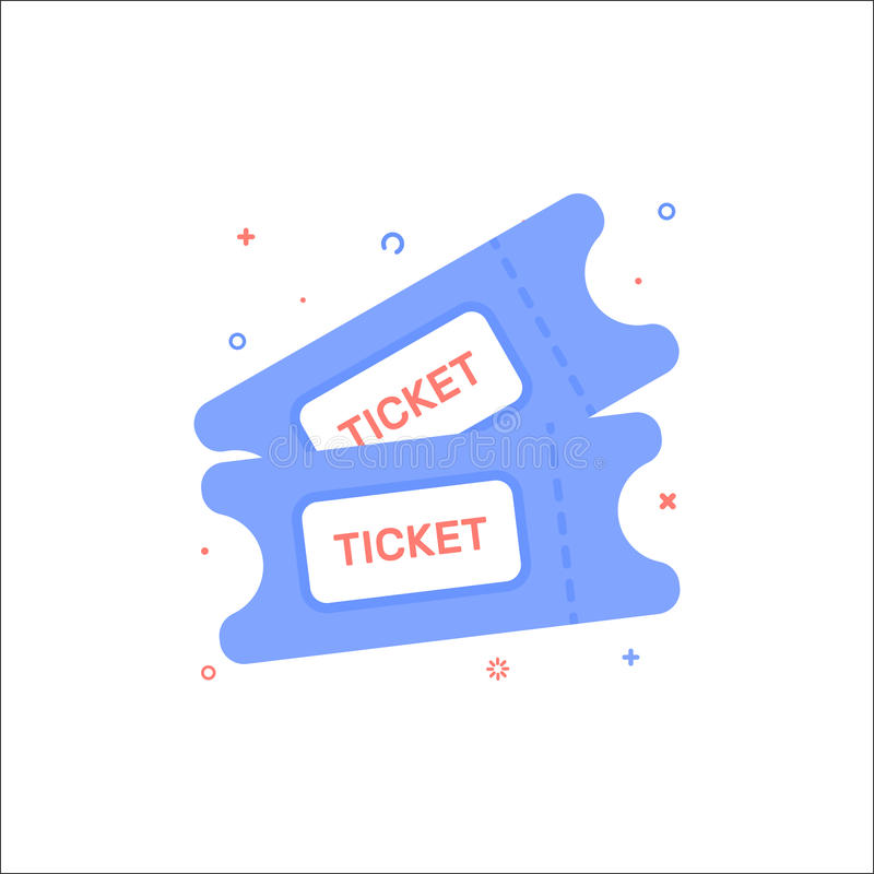 Vector cinema illustration of tickets icon in flat linear style. vector illustration