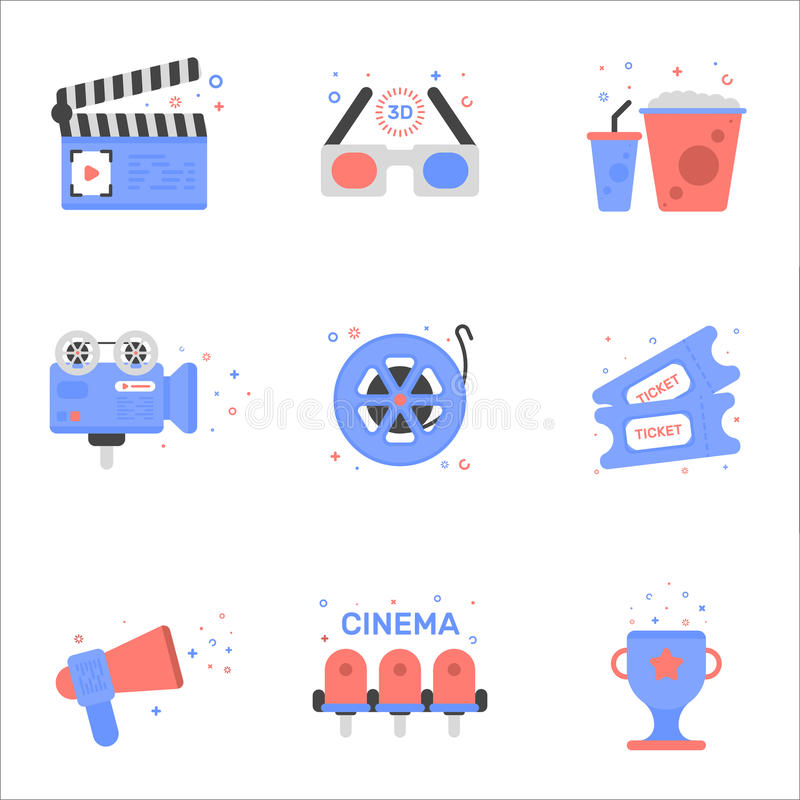 Vector cinema illustration of tickets icon in flat linear style. royalty free illustration