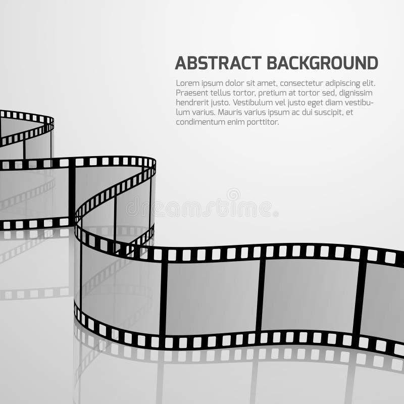 Vector cinema movie background with retro film strip roll stock illustration