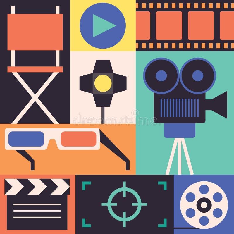 Vector Cinema set. Vector Cinema illustration, icon set royalty free illustration