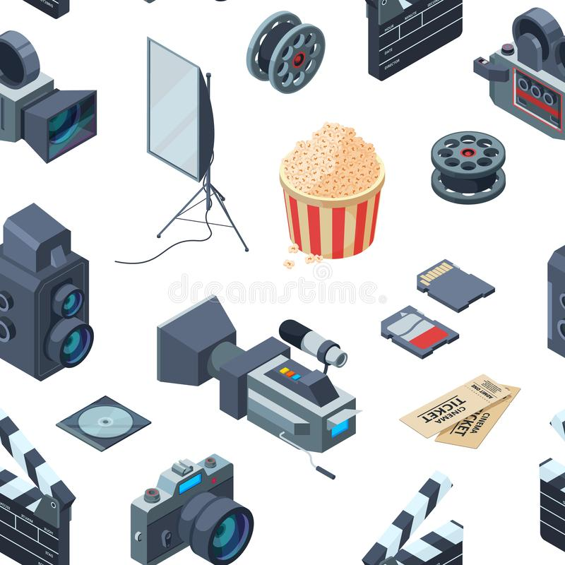 Vector cinematograph isometric pattern or background illustration royalty free illustration