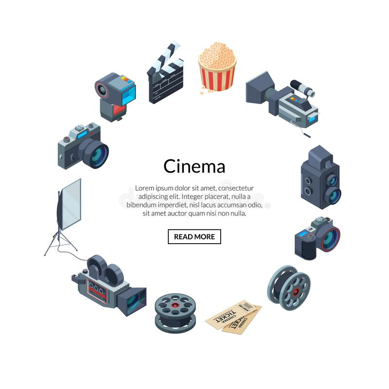Vector cinematograph elements in circle shape form stock illustration