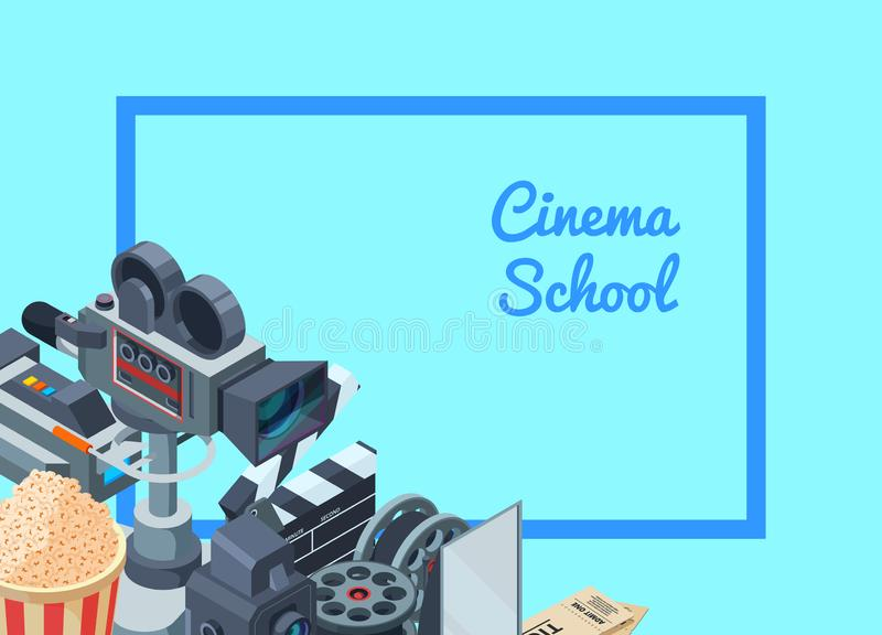 Vector cinematograph isometric elements of set background illustration royalty free illustration