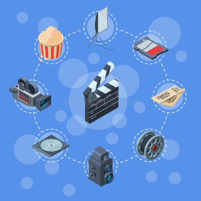 Vector cinematograph isometric elements infographic concept illustration. Illustration of infographic cinema, film and video royalty free illustration