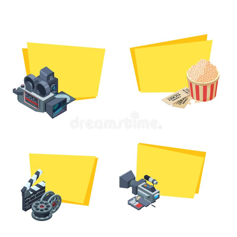 Vector cinematograph isometric elements stickers set illustration royalty free illustration