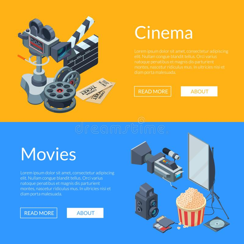 Vector cinematograph isometric elements web banner illustration vector illustration