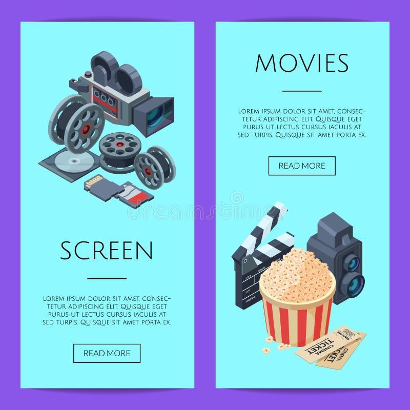 Vector cinematograph isometric web banner templates illustration stock illustration