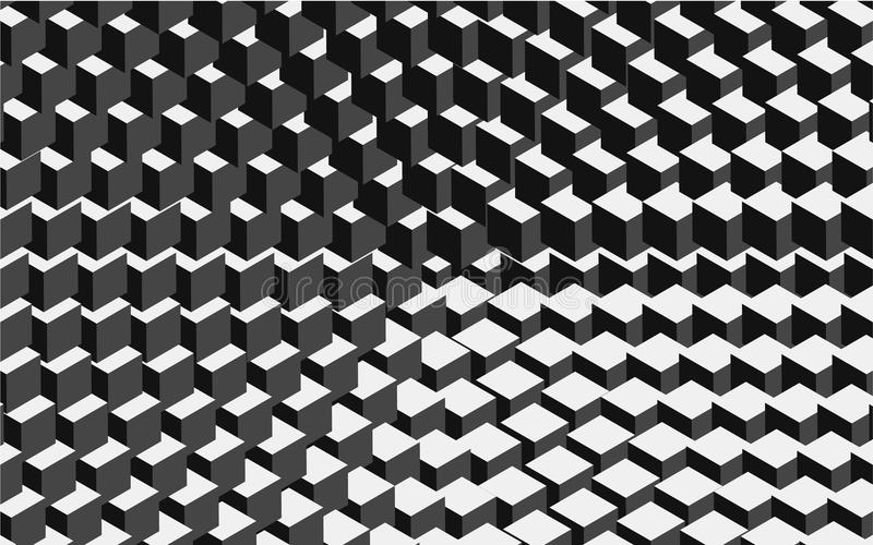 Vector circl halftone geometric seamless pattern with cube shapes. Black white design for posters, sites, business cards stock illustration
