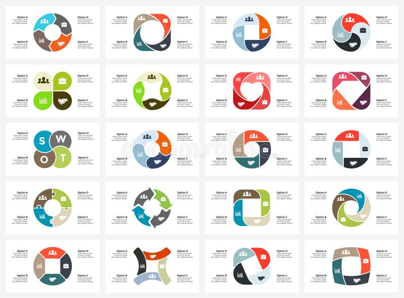 Vector circle arrows infographic, cycle diagram, graph, presentation chart. Business concept with 4 options, parts. Circle arrows diagram for graph infographic royalty free illustration