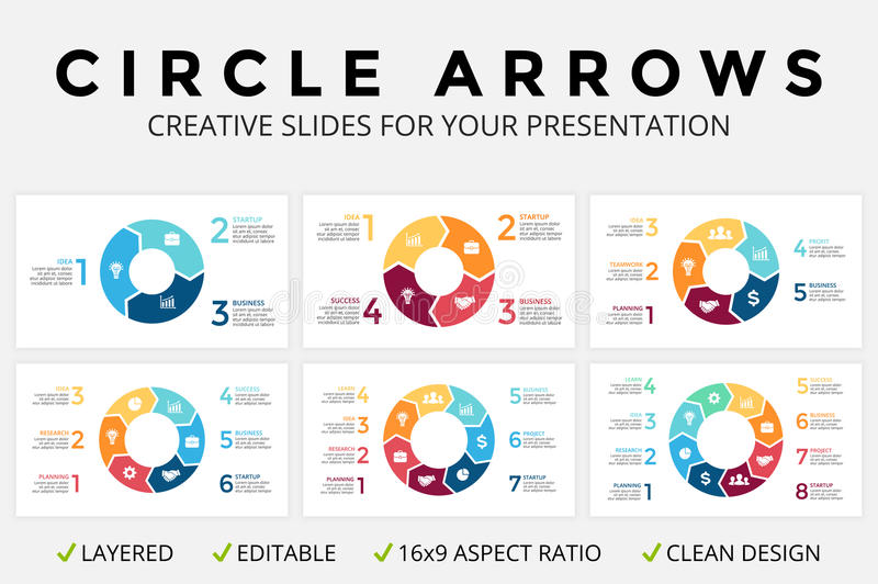 Vector circle arrows infographic, cycle diagram or graph, 16x9 slide presentation pie chart. Business concept template. Circle arrows diagram for graph stock illustration