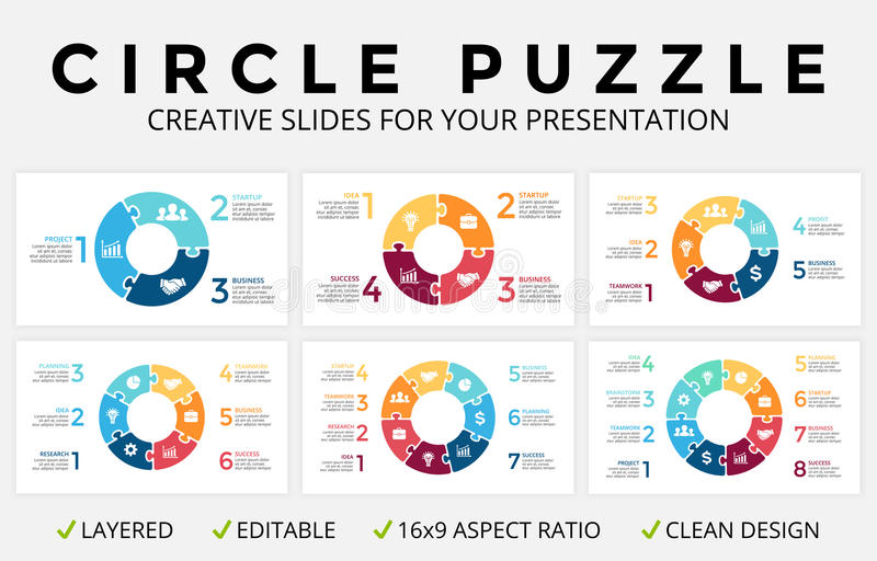 Vector circle arrows infographic, cycle diagram, puzzle jigsaw graph, 16x9 slide presentation pie chart. Business royalty free illustration