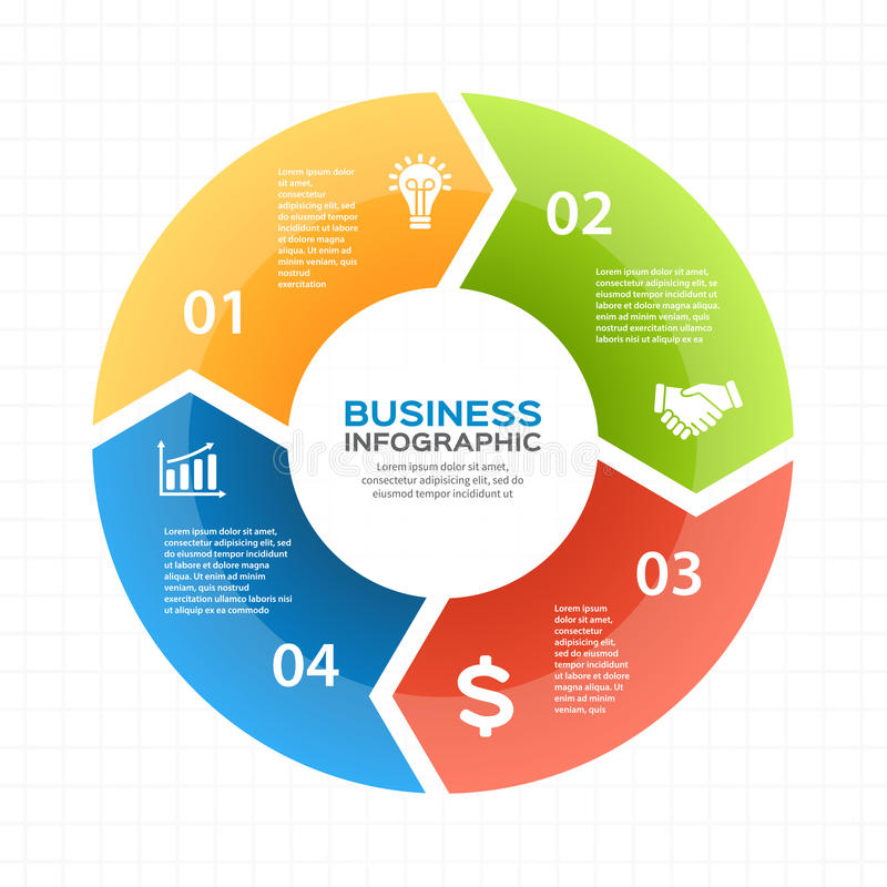 Vector circle arrows infographic, diagram, graph, presentation, chart. Business cycle concept with 4 options, parts stock illustration