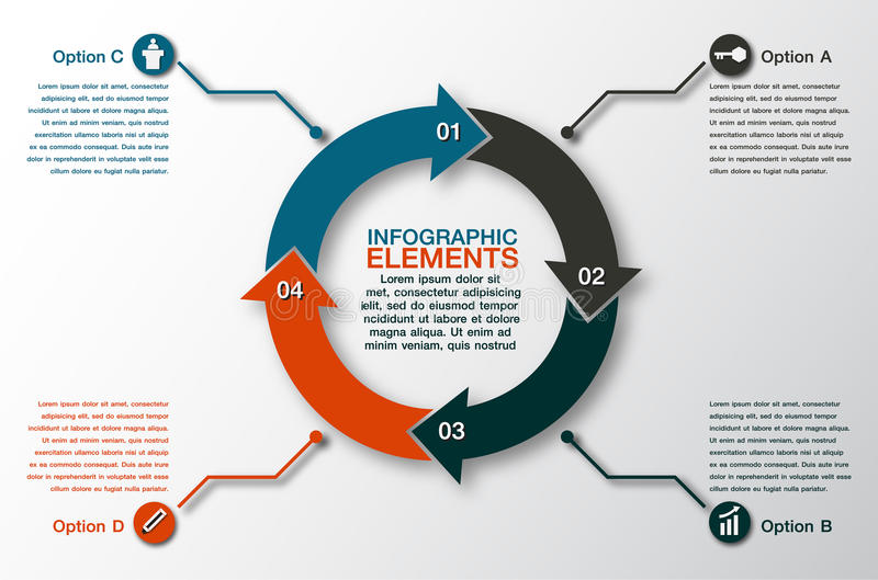 vector circle arrows for infographic. Template for cycling diagram,4 options vector illustration