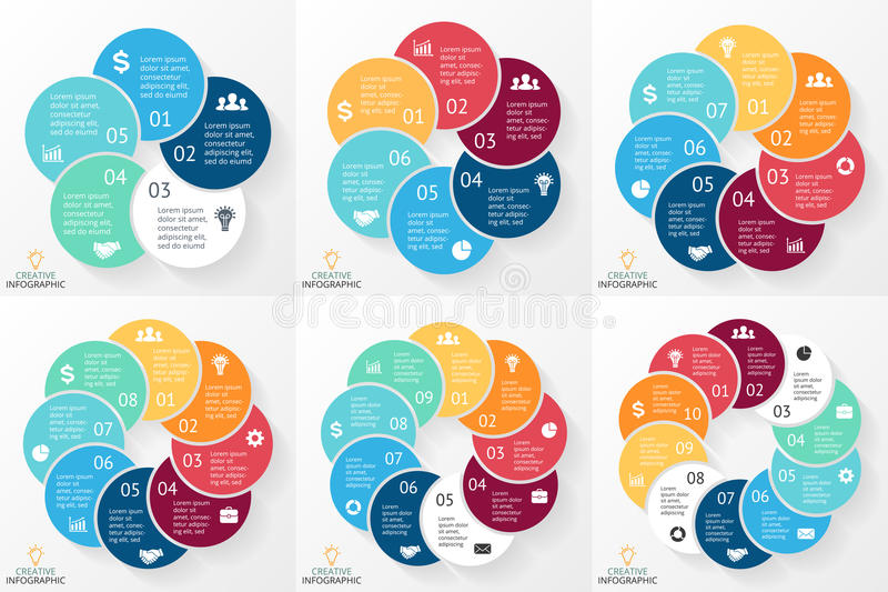 Vector circle arrows infographics set, cycle diagram, graph, presentation chart. Business concept with 5, 6, 7, 8, 9, 10 royalty free illustration