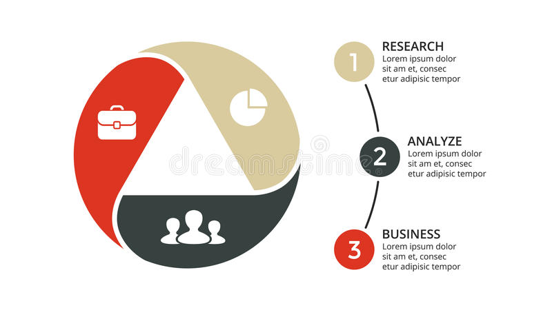 Vector circle arrows triangle infographic, cycle diagram, graph, presentation chart. Business concept with 3 options vector illustration