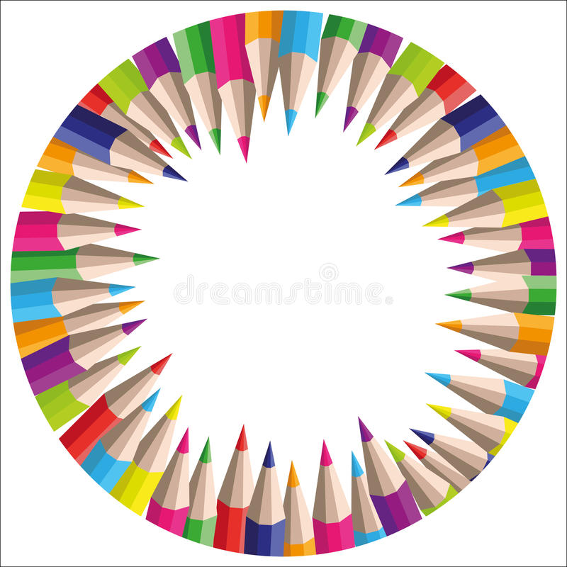 Vector circle background of colored pencils stock photography