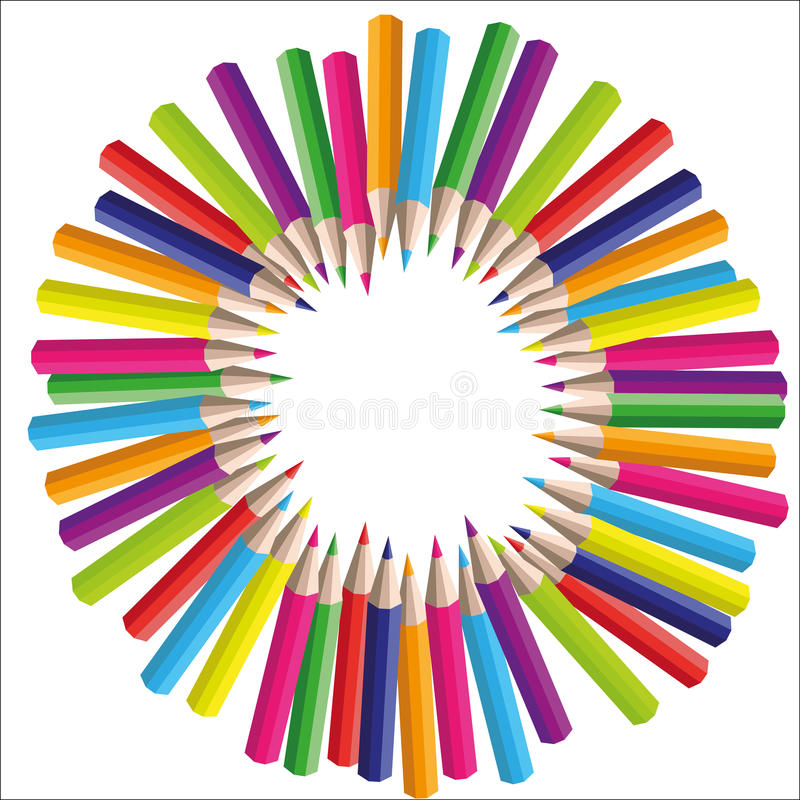 Vector circle background of colored pencils. For your design stock illustration