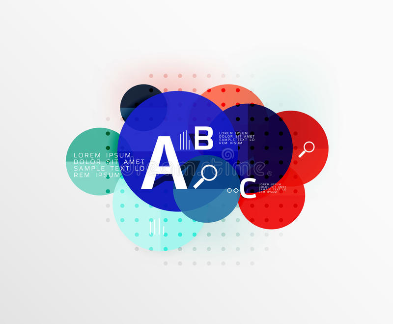 Vector circle bubbles modern geometric background. With option letter design. Vector template background for workflow layout, diagram, number options or web stock illustration