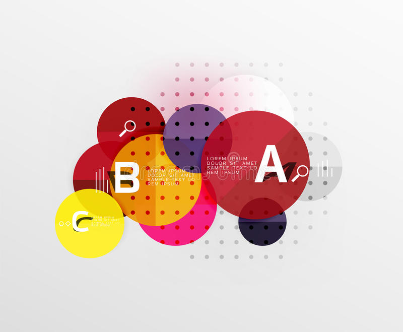 Vector circle bubbles modern geometric background. With option letter design. Vector template background for workflow layout, diagram, number options or web royalty free illustration