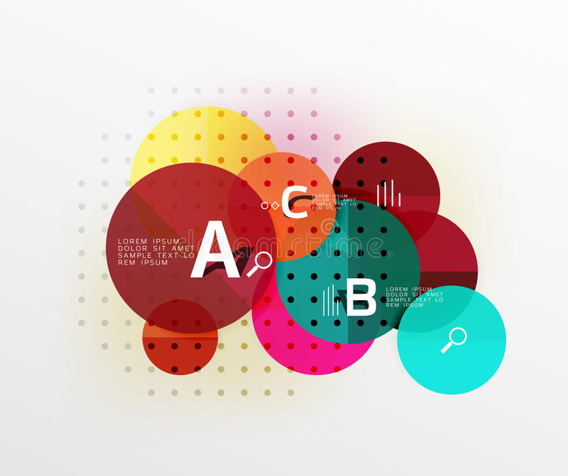 Vector circle bubbles modern geometric background. With option letter design. Vector template background for workflow layout, diagram, number options or web vector illustration