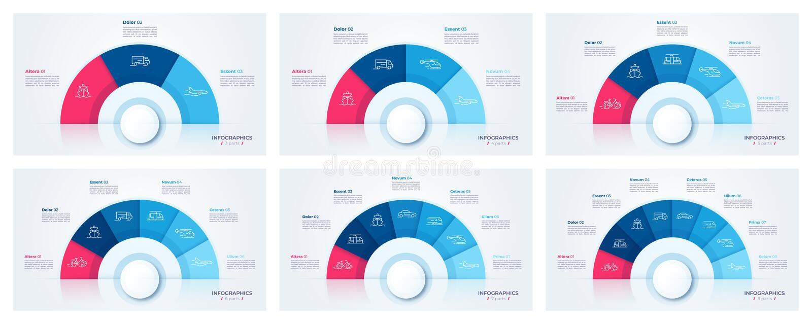 Vector circle chart design, modern templates for creating infographics stock illustration