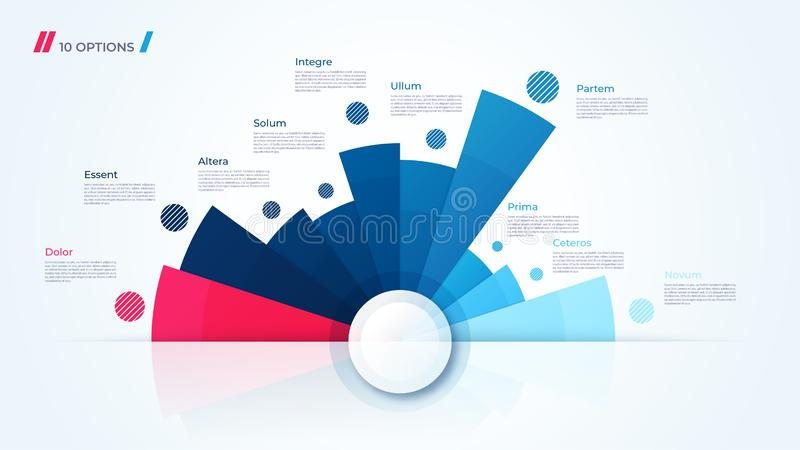 Vector circle chart design, template for creating infographics. Vector circle chart design, modern template for creating infographics, presentations, reports royalty free illustration