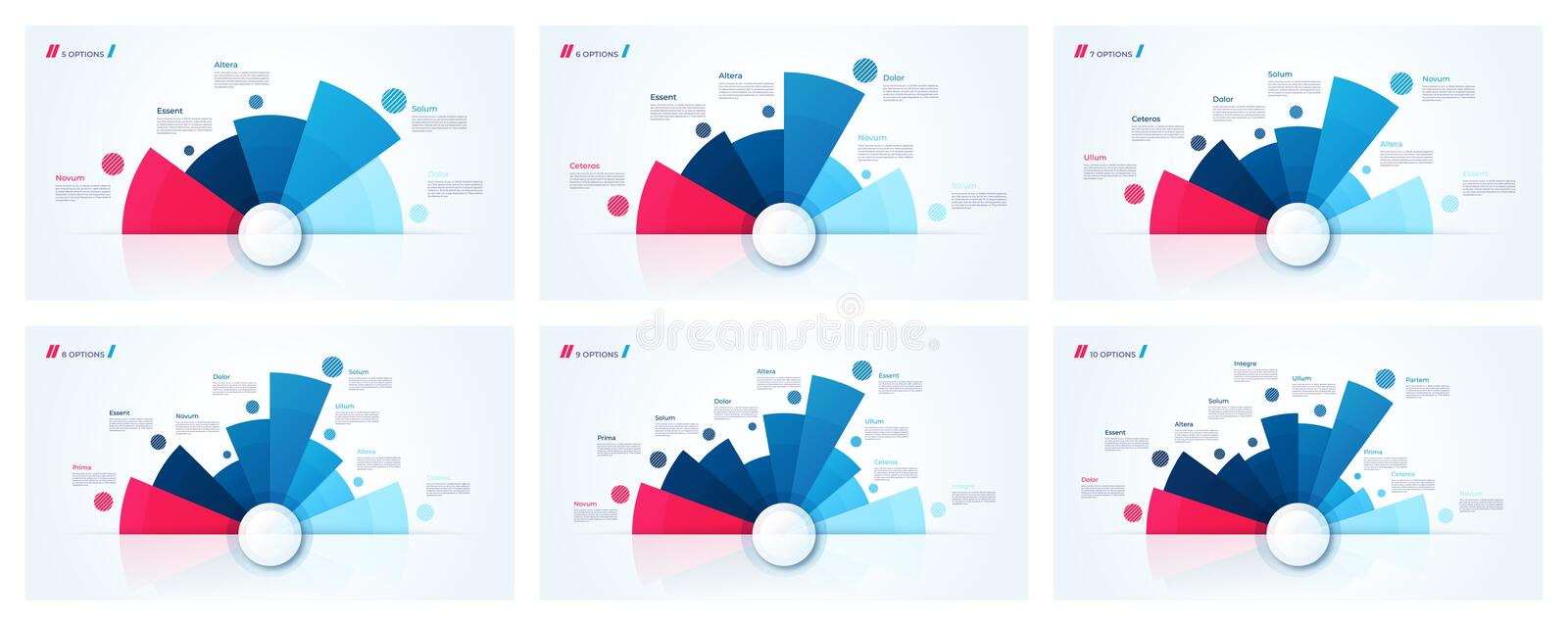 Vector circle chart designs, modern infographic templates. Vector circle chart designs, templates for creating infographics, presentations, reports vector illustration