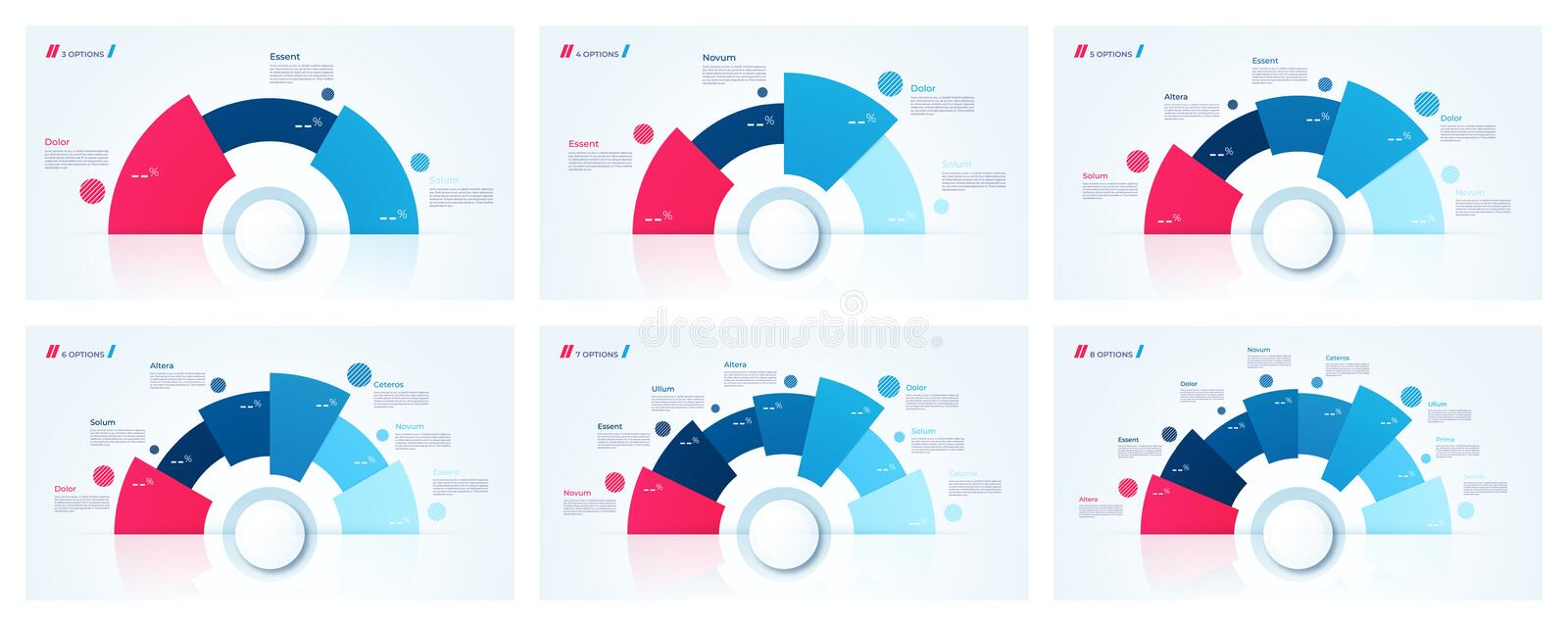 Vector circle chart designs, templates for creating infographics stock illustration