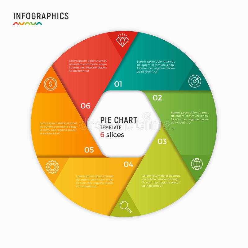 Vector circle chart infographic template. 6 options, steps, part. Vector circle chart infographic template. 6 options, steps parts royalty free illustration