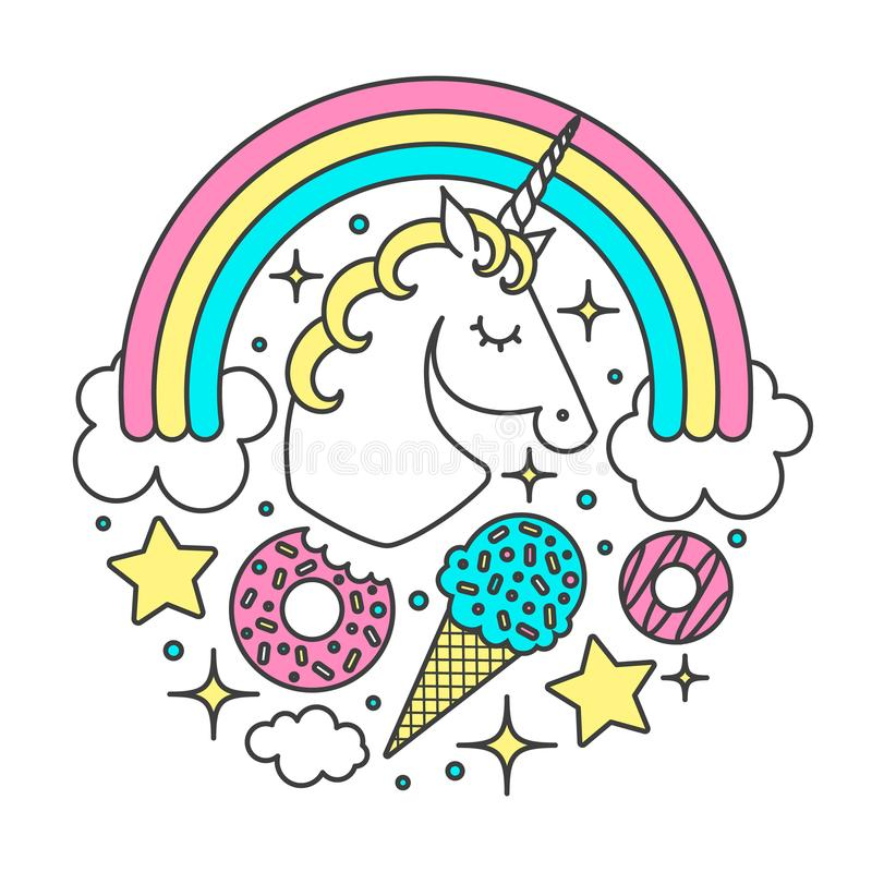 Vector circle composition with unicorn, rainbow, clouds, stars, ice cream, donuts. Cartoon style character royalty free illustration