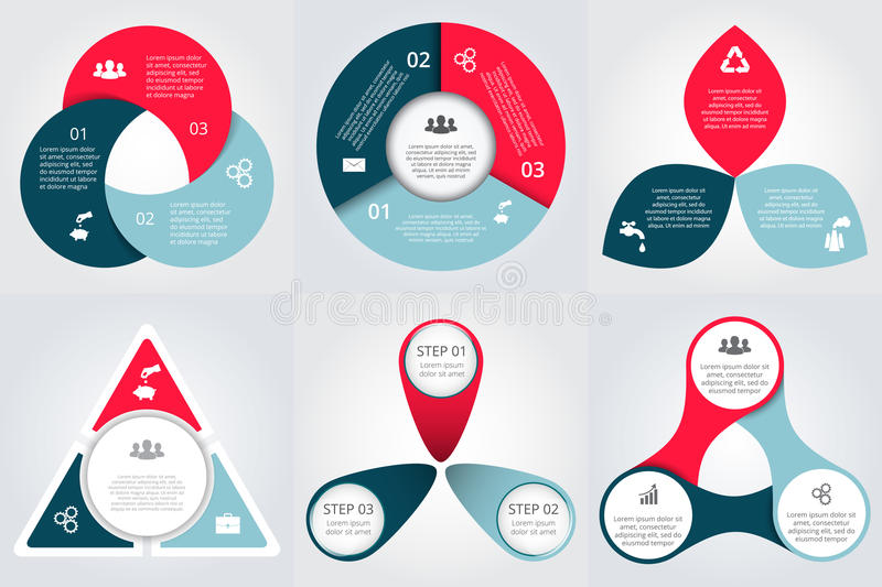Vector circle elements set for infographic. stock illustration