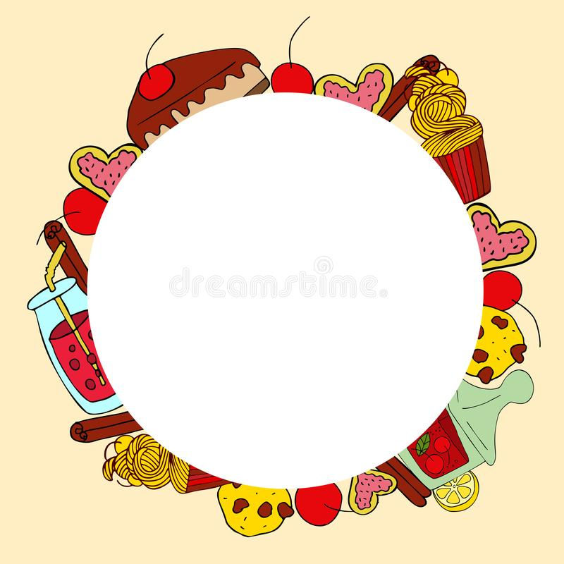 Vector circle frame with hand drawn sweet stuff. royalty free illustration