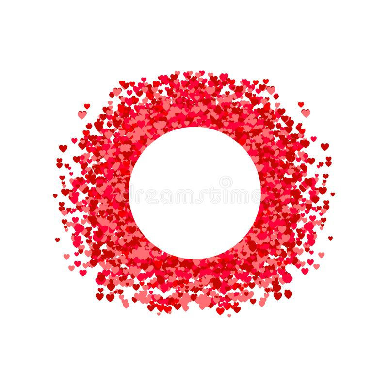 VECTOR circle frame, heart shape confetti, pile of hearts, romantic background, pink and red paper hearts. vector illustration