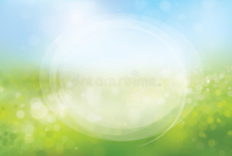 Vector circle frame on nature bokeh background. Circle frame for text, on nature bokeh, blurred background