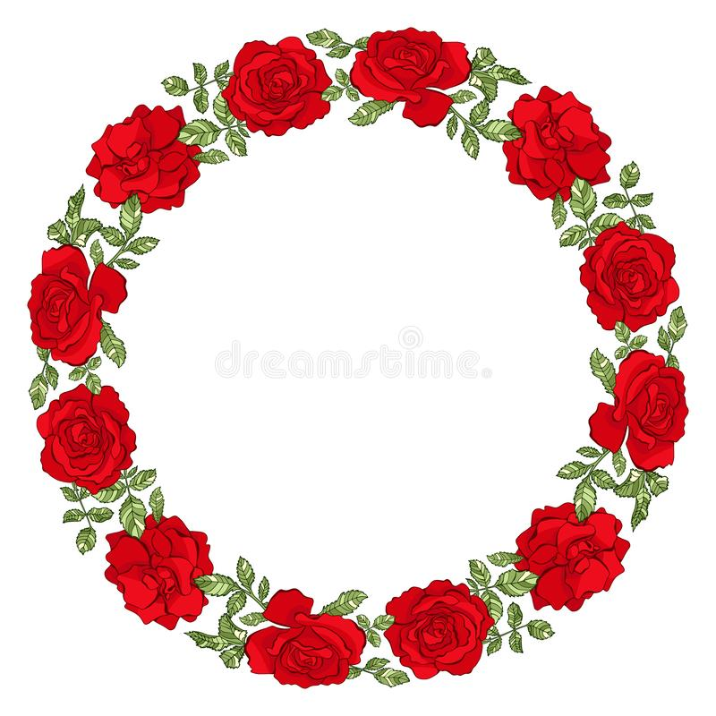 Vector circle frame with red roses vector illustration