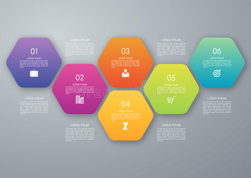 Vector circle hexagon infographic stock illustration