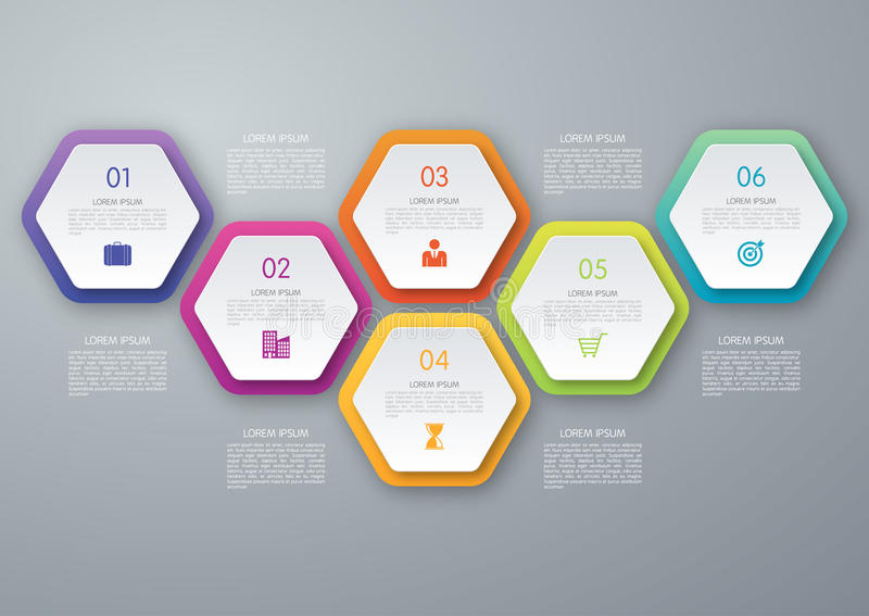 Vector circle hexagon infographic. Template for diagram, graph, presentation and chart. Business concept with 6 options, parts, steps or processes. Abstract vector illustration