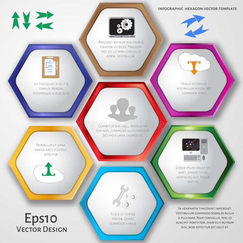 Vector circle hexagon infographic. Template for diagram, graph, presentation and chart. Business concept with 7 options, parts, steps or processes. Abstract vector illustration