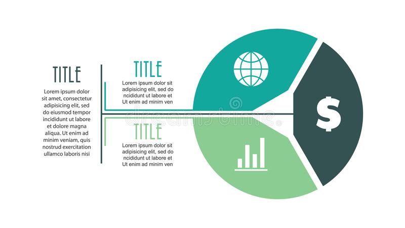 Vector circle infographic with 3 options. Cycle diagram royalty free illustration