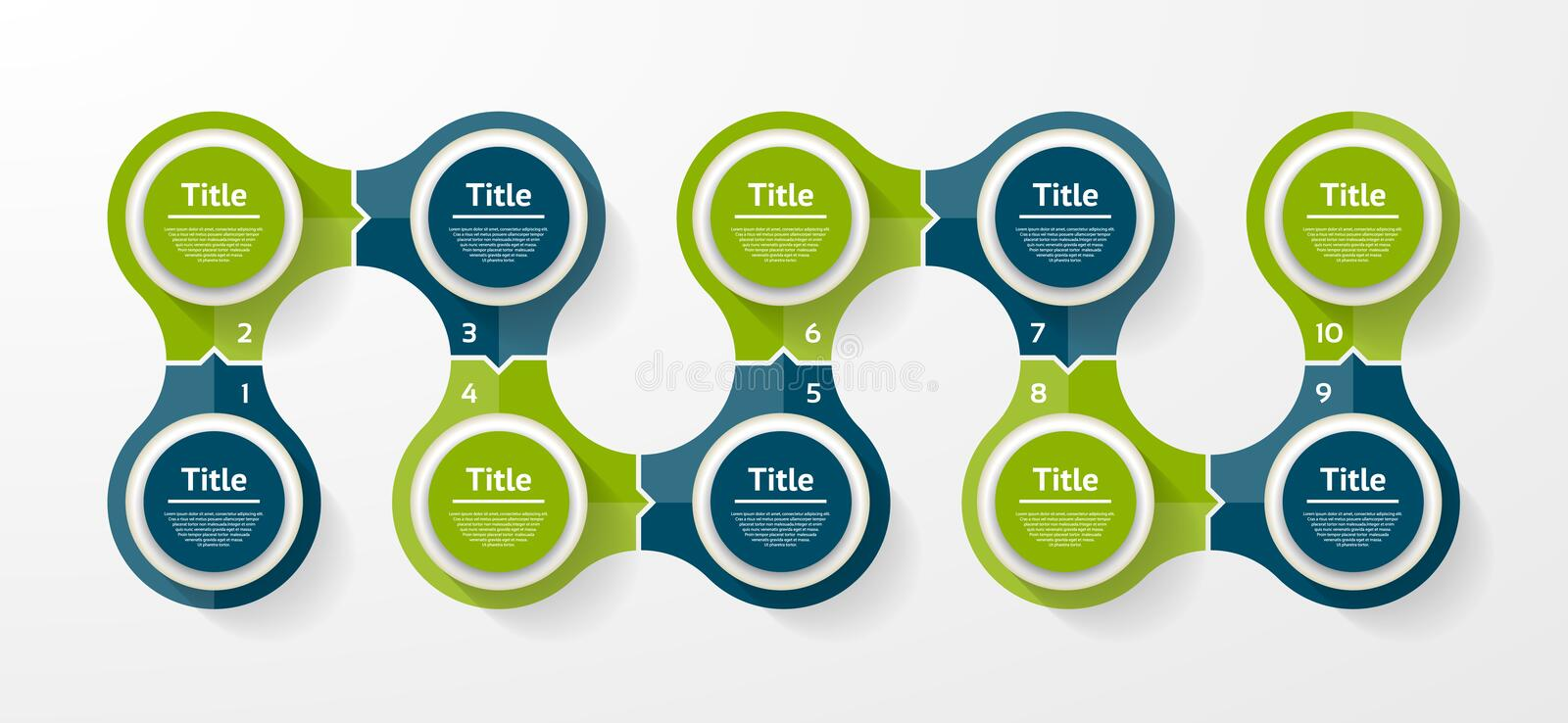Vector circle infographic. Template for cycle diagram, graph, presentation and round chart. Business concept with 10 options, part vector illustration